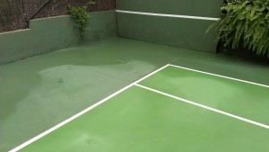 Mouldy court after cleaning
